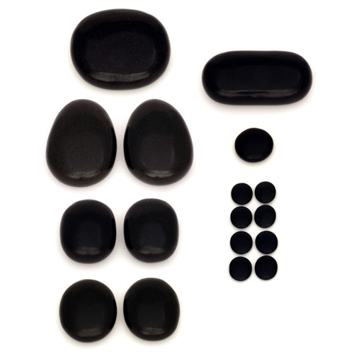Placement Hot Stone Set - 17 Basalt Stones - Carved